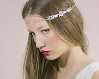 Bridal Forehead Band,Bridal Crystal Halo,Bridal Halo Headpiece,Bridal Head Chain,Wedding Forehead Band,Hair Chain Headpiece,Boho Head Chain