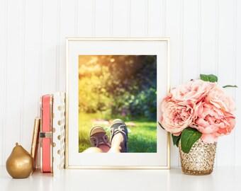 Sunshine, fine art photography, shoe print, wall art for girls room, girls bedroom decor, sun, grass, summer art, wall prints, home decor