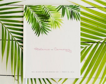 Wedding Guest Book Wedding Guestbook Custom Guest Book Personalized Customized custom design wedding gift beach wedding modern tropical palm