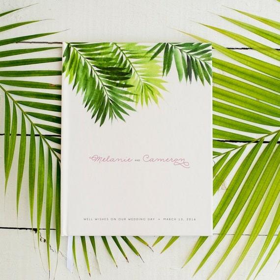 Wedding Guest Book Wedding Guestbook Custom Guest Book Personalized Customized custom design wedding gift beach wedding modern tropical palm