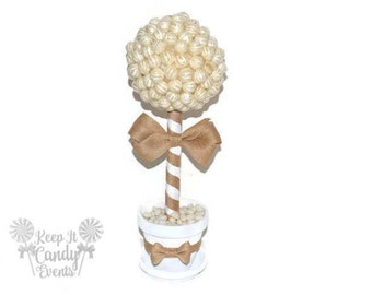 White and Burlap Rustic Lollipop Topiary, Rustic Candy Topiary, Rustic Wedding Centerpiece, Rustic Candy Table, Rustic Candy Buffet Ideas