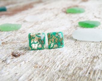 Tiny stud earrings Emerald green Gold earrings Small square earrings Green stud earrings Girlfriend gift Sparkle earrings Resin Clay studs