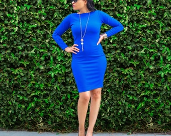 Long Sleeve Dress - Plus Size Dresses - Fitted Dress - Knee Length Pencil Dress - Womens Petite Tall Dress - Long Sleeves - Boat Neck