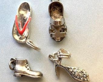 Vintage Sterling Silver Shoe and Sandal Charms - Rhinestone High Heel, Flip Flop, Birkenstock, Work Boot