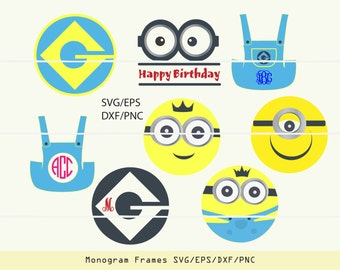 INSTANT DOWNLOAD SVG -  one/two eyed minions vectors for cutting machines: svg, png, dxf, eps -monograms not incl.