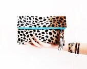 Leopard Leather Clutch, Leopard Fold Over Clutch, Leopard Party Bag, Leopard Leather Tassel, Cheetah Calf Hair Clutch