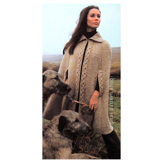 Knitting Pattern Cape Arm Slits : Womens Knit Cape Pattern 1970s Vintage Cable Trimmed Cape