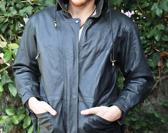 Vintage 80's B.M.M.® black leather trench coat with hoodie