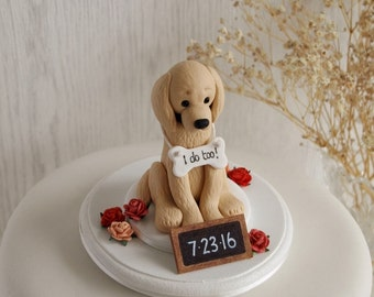 Golden Retriever Cake Topper - Dog Cake Topper - Dog Wedding Cake Topper - Custom Dog Cake Topper - Dog Wedding - I Do Too - ANY  BREED