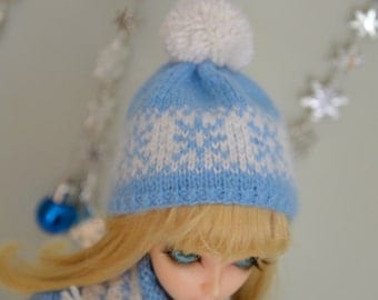Handmade knitted hat cashmere for  1/4 BJD doll.