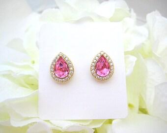 Swarovski Rose Pink Teardrop Stud Earrings Light Pink Earrings Cubic Zirconia  Earrings Wedding Bridesmaids Gift White Gold Earrings (E303)