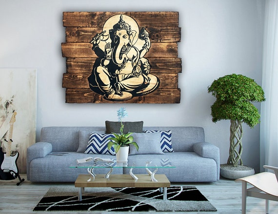 Ganesh wood wall art home decor rustic decor wall hanging for Wooden art home decorations