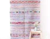 """Vintage Moroccan Boucherouite Kilim Rug, """"The Clover,"""" Pastel Rug, Pink Rug, Boho Rug, Nursery Rug, Berber Rug, Bohemian, Kids Rug"""