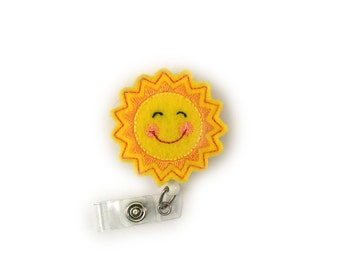 Sun-Lovely Badges-Felt Badges-Retractable Id Badges-Decorative-Nurse Jewelry-Nurse Id Badge-Badge Holders-Badge Reels-Cute Id Badges-Nursing