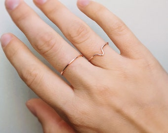 Two Stackable Rose Gold Rings, Stackable rings, Two rings, Rose gold ring, Gold ring, V ring, Adjustable ring
