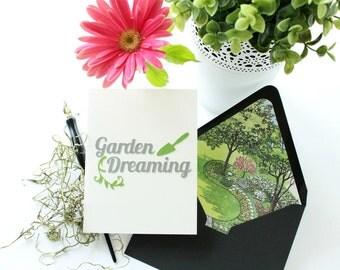 Garden Design Stationery Cards, Repurposed Landscape Design Book, Garden Lover Stationary Gift, Die Cut Blank Cards, Unique Lined Envelopes