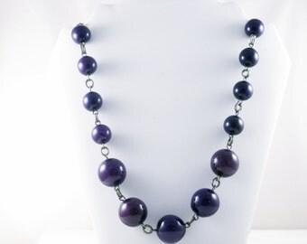 Vintage Very Long Purple Plum Large Beaded Necklace (N-3-3)