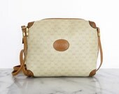 SALE // GUCCI Monogram Vinyl Tan Beige Leather Purse GG Logo Small Square Shoulder Bag Made in Italy