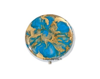 Round Metal Pill Box Hand Painted Enamel in Turquoise and Gold Peacock Quartz Inspired Design with Personalized and Color Options