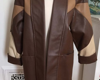 Vintage 1980s Mitrani Faux Leather Jacket Coat, Colorblock, Coffee Chocolate New Condition