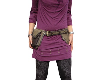 Steampunk Utility Belt Leather Hip Belt Bag Burning Man Festival Travel Belt with Five Pockets in Brown and Green HB26I