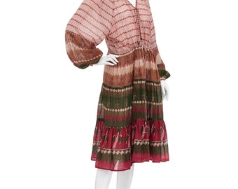 Vintage 70's Rare Indian AYESHA Devar Block Print Metallic Lurex Bohemian Gypsy Tiered Midi DRESS