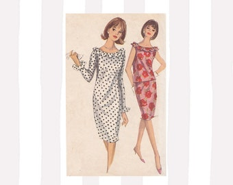 1960s Slim Sheath Dress or Skirt and Shell Top Simplicity 5824 Size 10 Ruffle Trim Neckline Set in Sleeves or Sleeveless