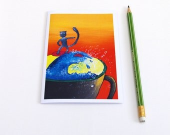 Surfer greeting cards Surf anniversaire Surfing Wave art Blank greeting card Gift ideas Illustrated cards Nautical card All occasion card