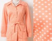 Vintage Polka Dot Top, Vintage 60s Top, Mad Men Top, Vintage Peach Top, 60s Polka Dot top, 60s Knit top - M/L