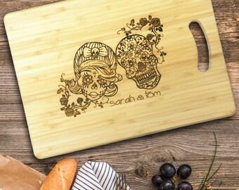 Personalised Sugar Skull Design Chopping Board. Cutting Board Wedding Gift or Anniversary Gift, Tattoo Design.