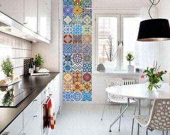 Portuguese Tiles - Azulejos - Tile Decals - Tile Stickers - Kitchen Splash Back - Tiles - Bathroom Tile Decals - Pack 48 - SKU:AZU