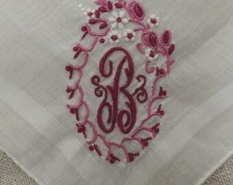 Monogram B Vintage Wedding: Letter B Bridal Gift. 1950's Pocket Square. Embroidery Pink Rose Hankie, Initial B Handkerchief Keepsake. KH23