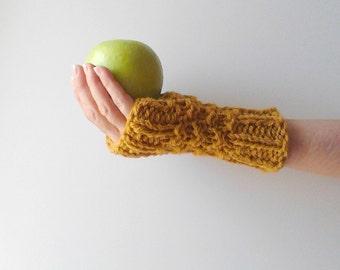 Knit fingerless gloves arm warmers mittens knit gloves crochet gloves mustard fingerless gloves fingerless mittens wool gloves hand warmers