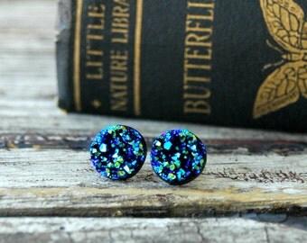 Blue Druzy Earrings . Surgical Steel Studs . Best Friend Birthday Gift . Mom Gift . Druzy Stud Earrings . Gift for Best Friend Birthday