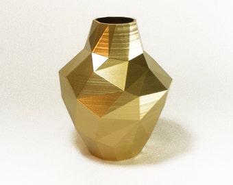 tall gold flower vase abstract zen decor vessel - golden decor floral vase golden triangle vase gold bud vase