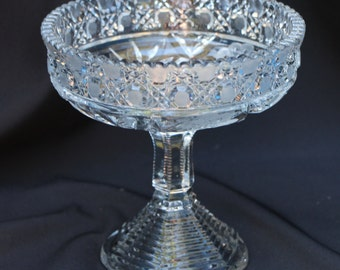 L. E. Smith Crystal Footed Compote