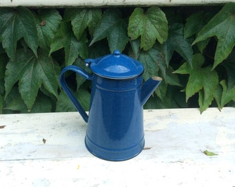 Vintage dark blue speckled enamelware French country style coffee pot