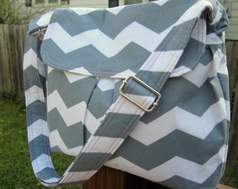 CROSS BODY BAG, Cross Body Purse, Women's Handbags, Chevron Bags, Pink Lining, Other Colors Available, Made To Order