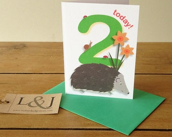 2nd birthday card - age 2 - kids birthday card - happy second birthday - 2 year old - childs birthday gift - two - birthday boy card
