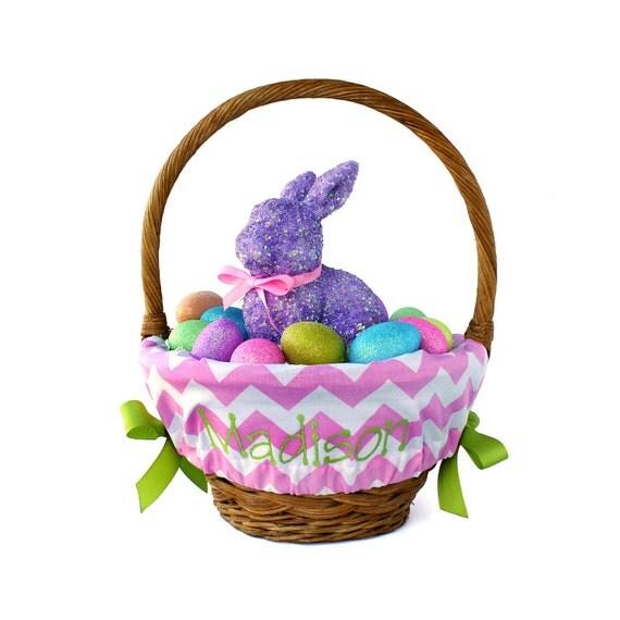 Personalized Easter Basket Liner, LG Pink Chevron, Basket not included, Monogrammed Easter basket liner, Custom basket liner with name