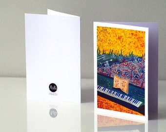 Thank you music teacher cards Music teacher gift Blank cards concert Graduation card Music therapy Piano teacher Piano card Music lover card