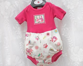 Woodland Animals Baby Girl Romper Kids Fox & Owl Baby Girl Clothes Baby Girl Bubble Romper Baby Girl Gift Baby Romper 3 6 9 12 18 24 month