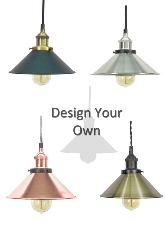 Design your own shade pendant light mix and by hangoutlighting for Decorate your own lampshade
