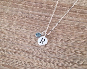 personalised pendant letter necklace mothers day gift swarovski crystal birthstone disc initial charm engraved jewelry antique silver