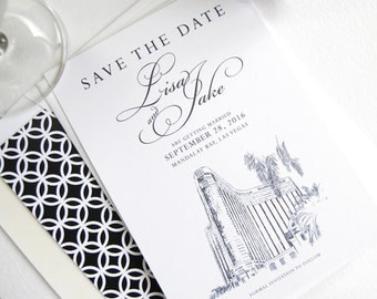 Mandalay Bay Las Vegas Skyline Destination Wedding Save the Date Cards, Las Vegas Wedding  (set of 25 cards)