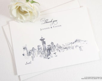 Seattle Skyline Wedding Thank You Cards, Personal Note Cards, Bridal Shower Thank you Cards (set of 25 cards)