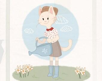 White Garden Cat Print