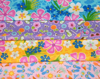 4 FQ Bundle – BEACH PARTY Time Prints 100% Cotton Quilt Craft Fabric Fat Quarters