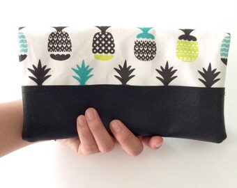 Pineapples Fold Over Clutch with Faux Leather Accent Trim, Faux Leather Accent Clutch