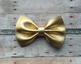 New Years Headband!! Gold and Silver Leather Bow Headband